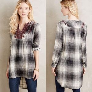Anthropologie Floreat Embroidered Flannel Tunic